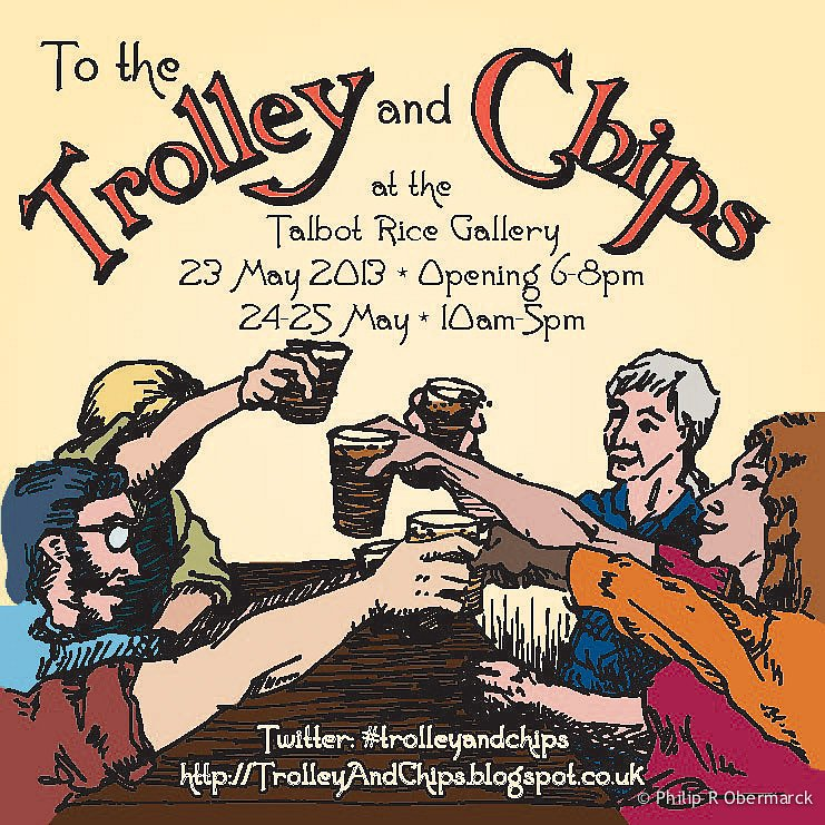 Trolley & Chips Beer Mat, front